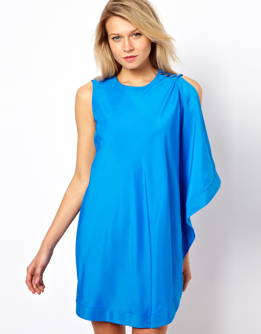 Ted baker One Sided Draped Tunic Dress in Blue  Lyst