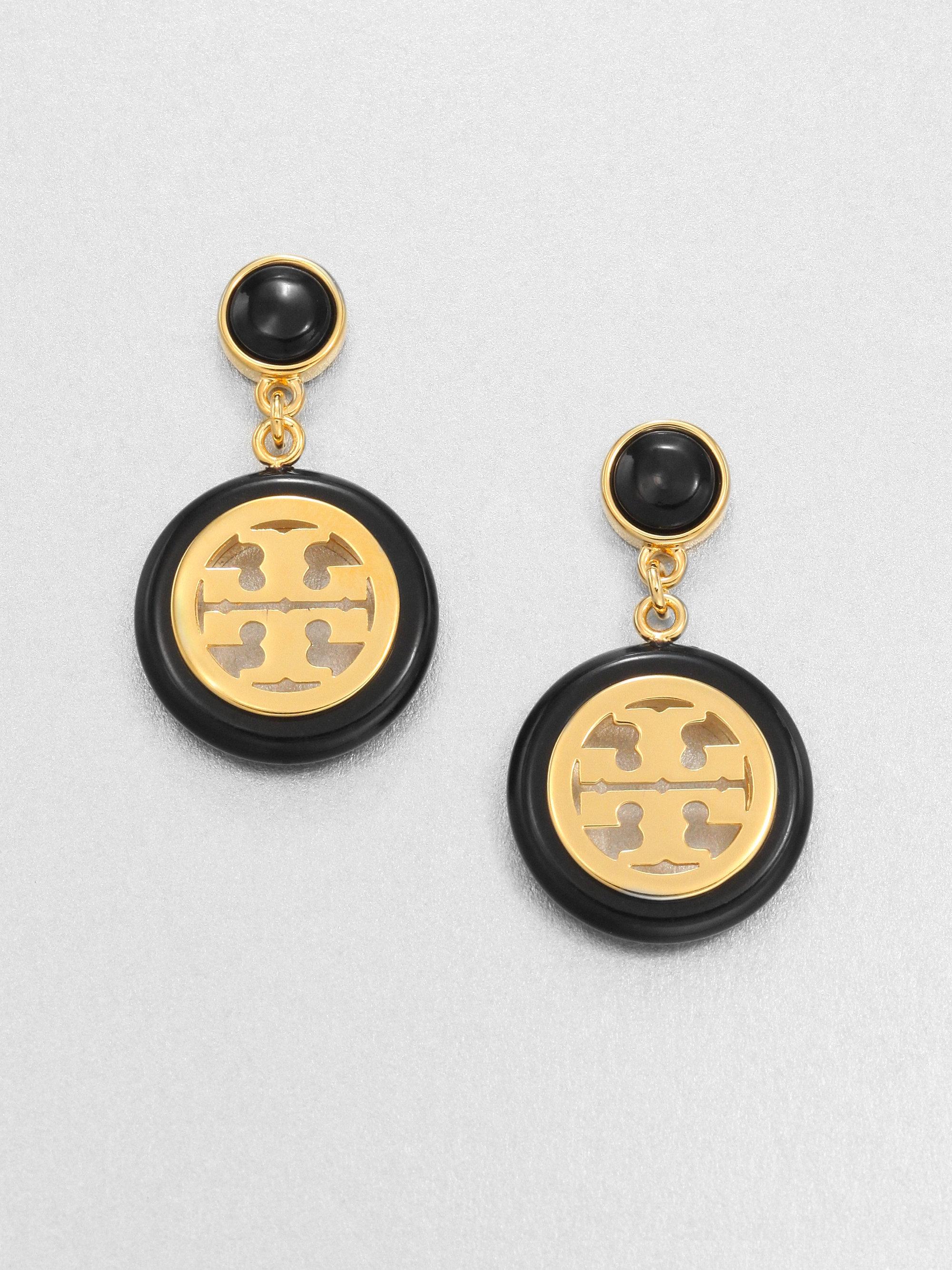 b4bdf5859 Tory Burch Logo Medallion Drop Earrings in Metallic - Lyst