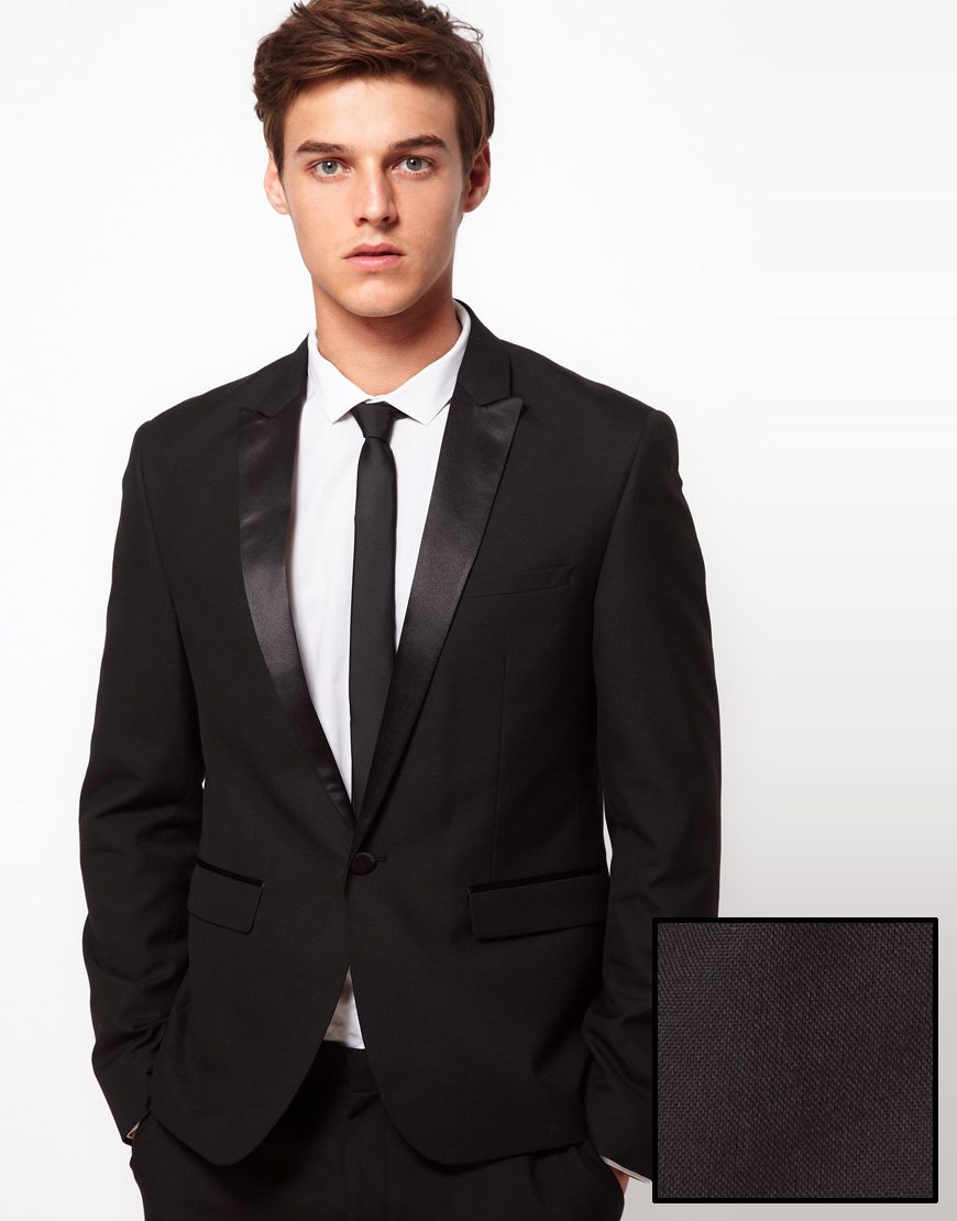 Asos Slim Fit Tuxedo Suit Jacket in Black for Men | Lyst