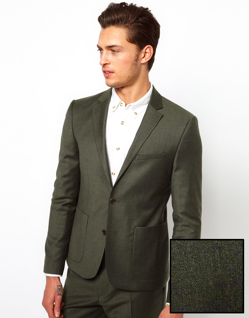 Asos Slim Fit Suit Jacket in Khaki in Green for Men | Lyst