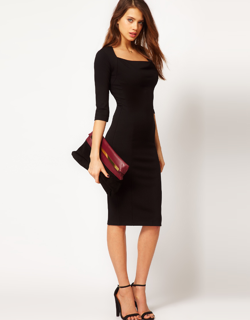 Lyst Asos Pencil Dress With Cowl Neck In Black