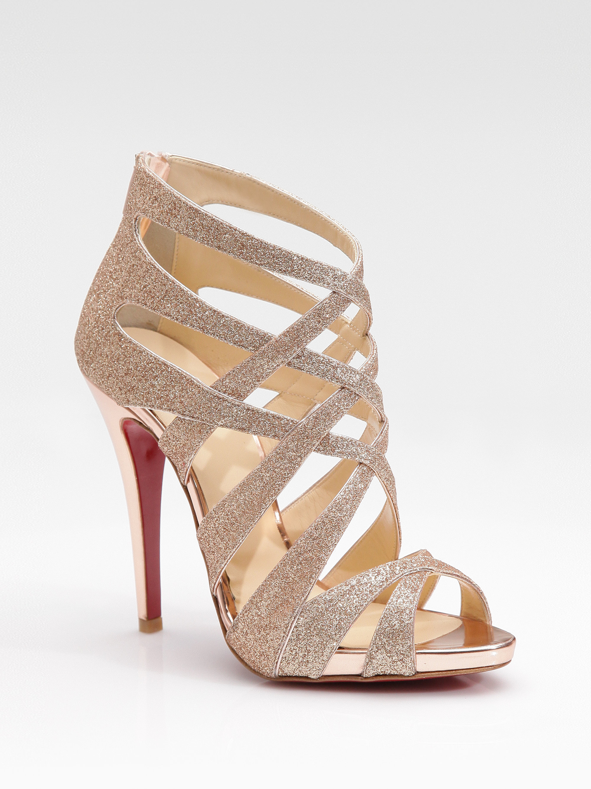 Christian louboutin Balota Glitter Leather Strappy Sandals in ...