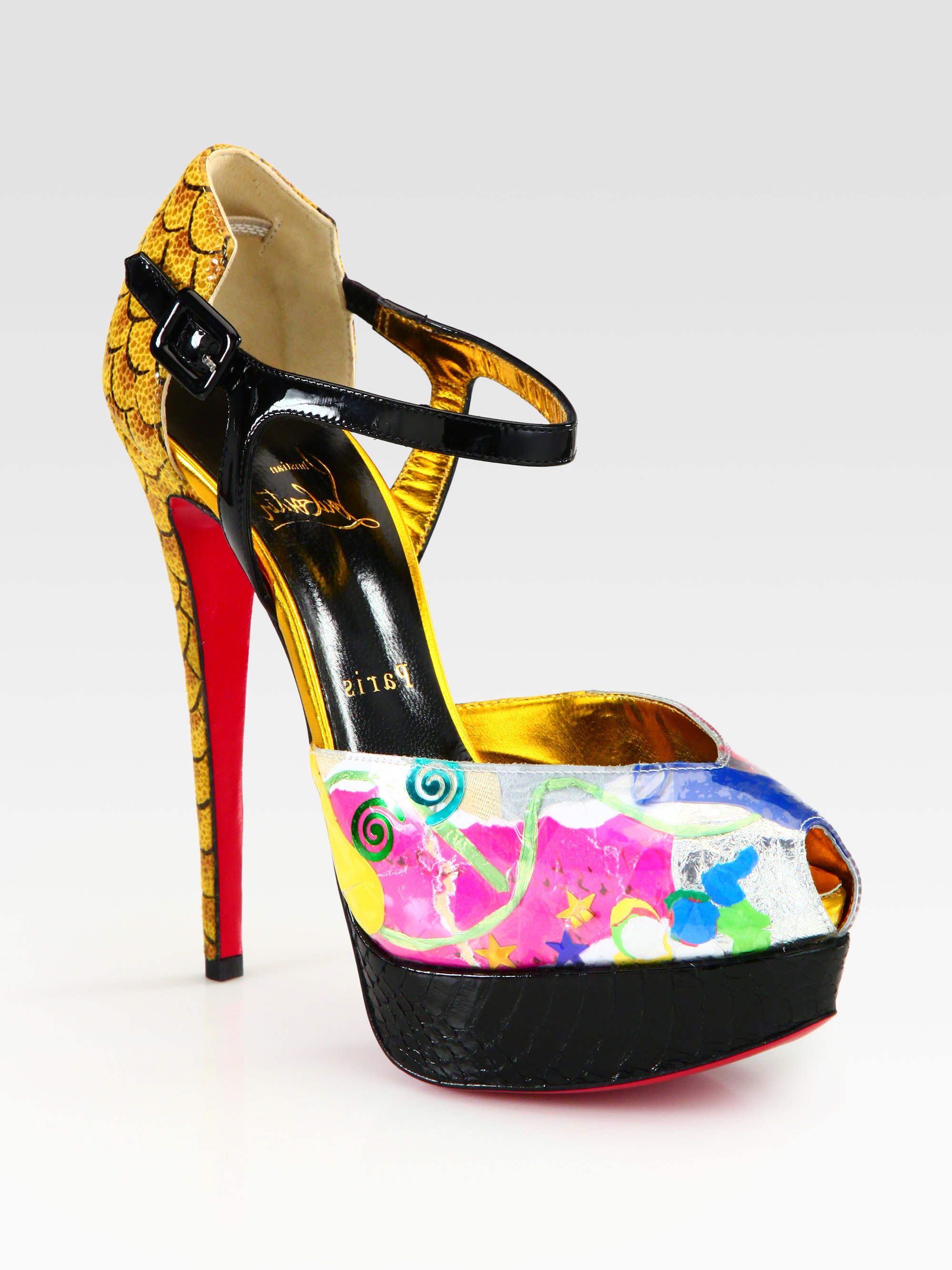 Lyst Christian Louboutin No 299 Trash Patent Python Sandals