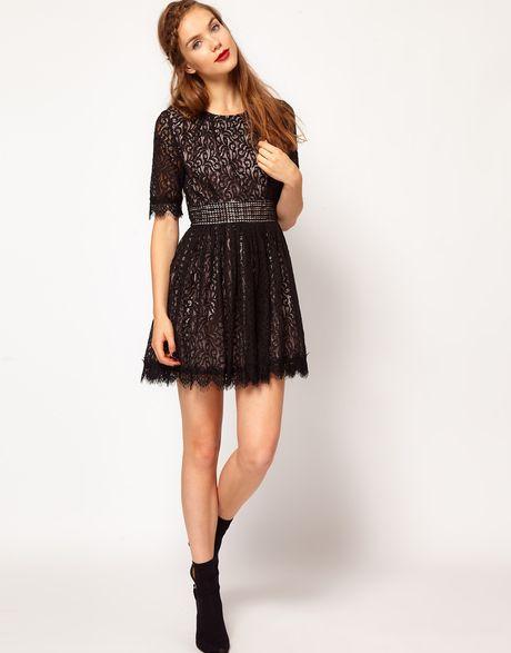 Darling Amelia Lace Skater Dress In Brown Burgundy Lyst