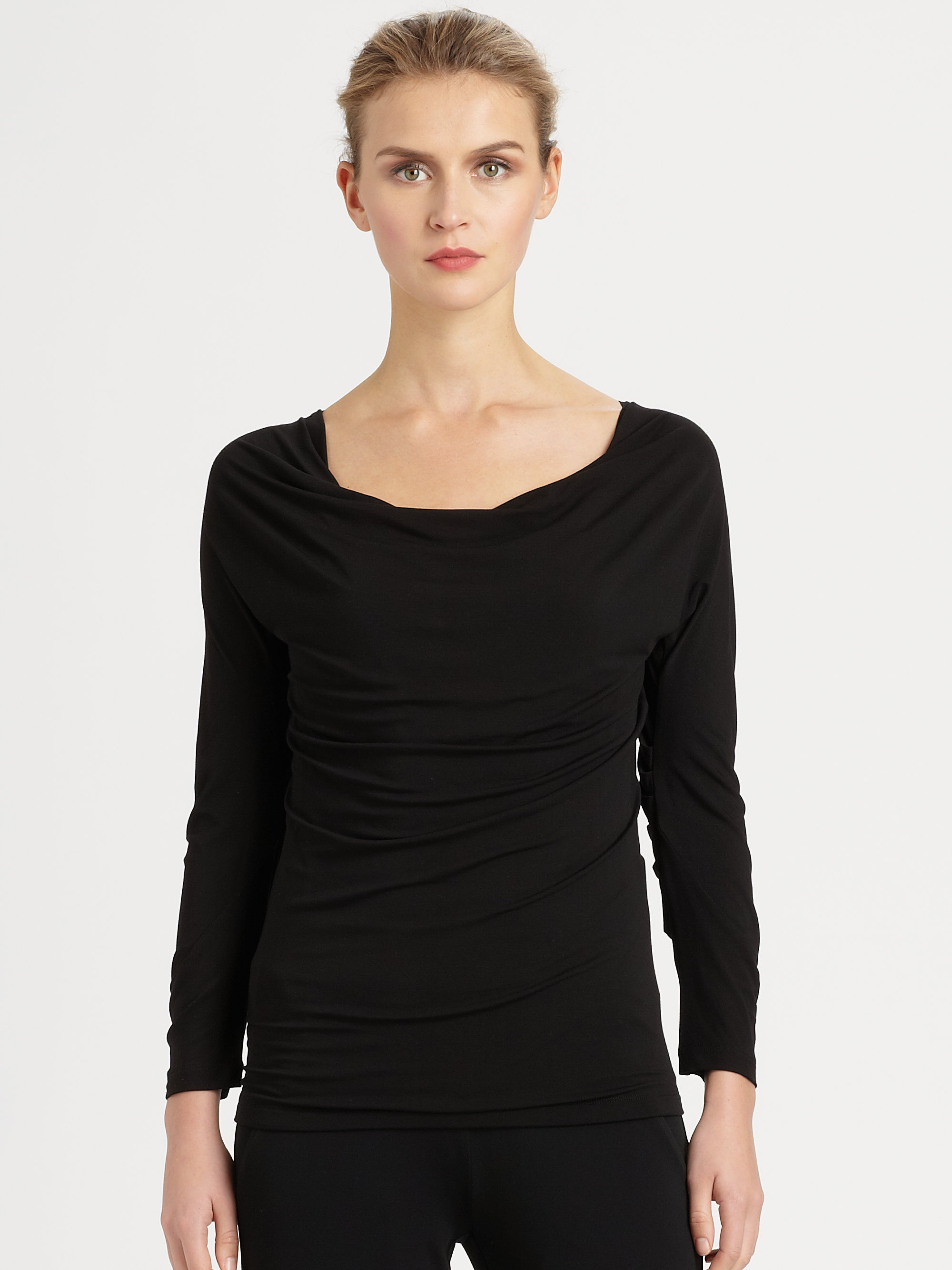 Donna karan new york draped stretch jersey top in pink for Donna karen new york