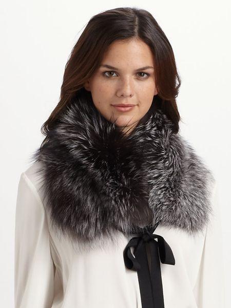 elie tahari fox fur scarf in silver silver fox lyst
