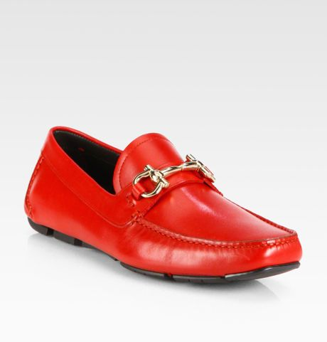 Ferragamo Leather Loafers in Red for Men
