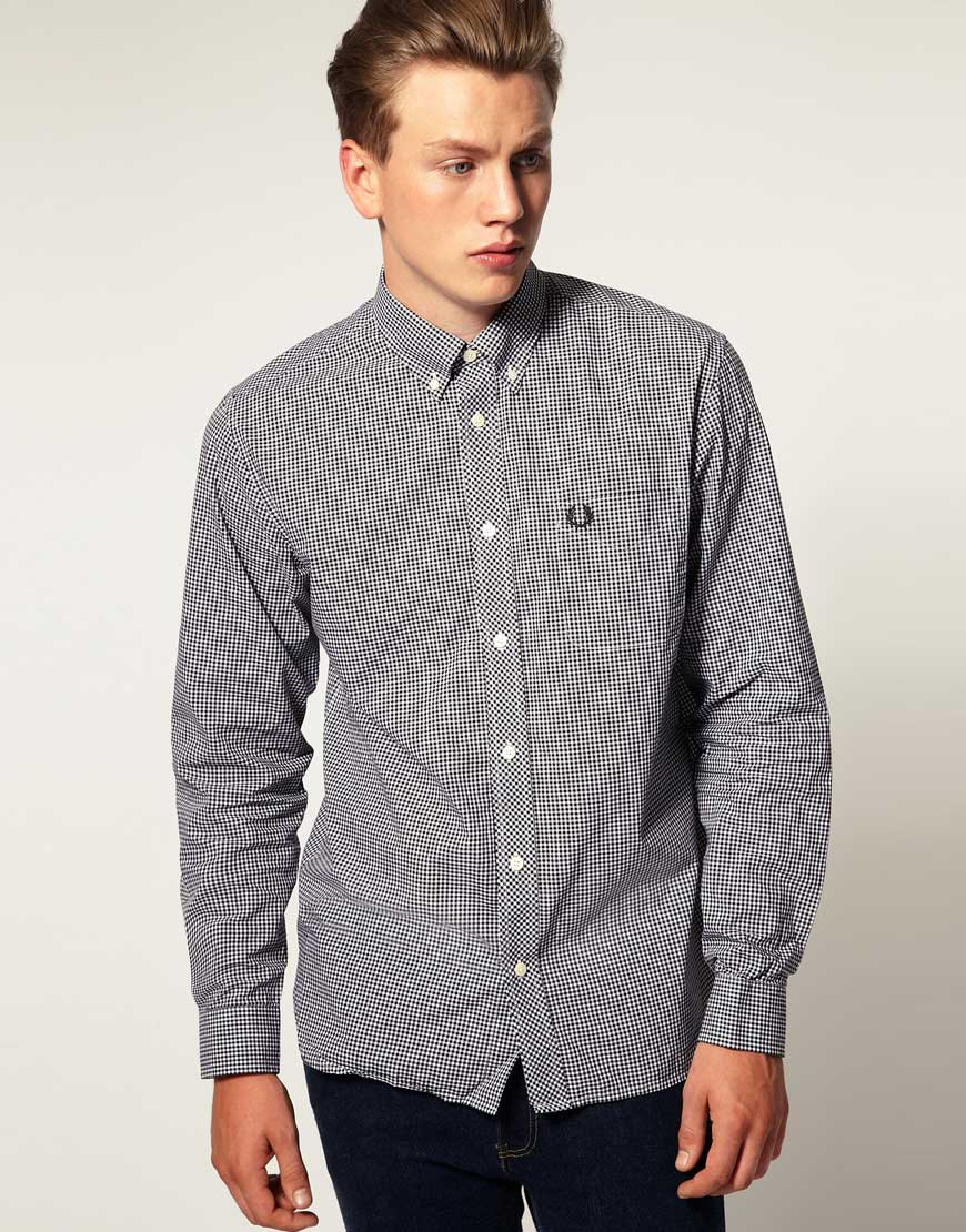 Fred perry long sleeve gingham check shirt in black for for Fred perry mens shirts sale