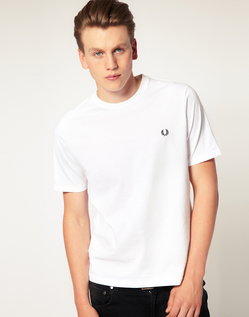 Lyst fred perry t shirt with crew neck in white in white for Fred perry mens shirts sale