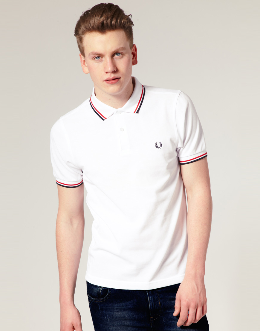 asos white fred perry slim fit twin tipped polo top for men lyst. Black Bedroom Furniture Sets. Home Design Ideas