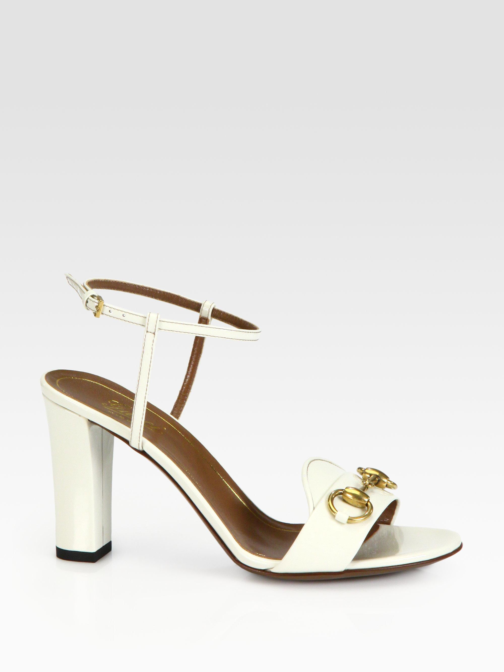 2de23f0e425c Lyst - Gucci Patent Leather Horsebit Sandals in White