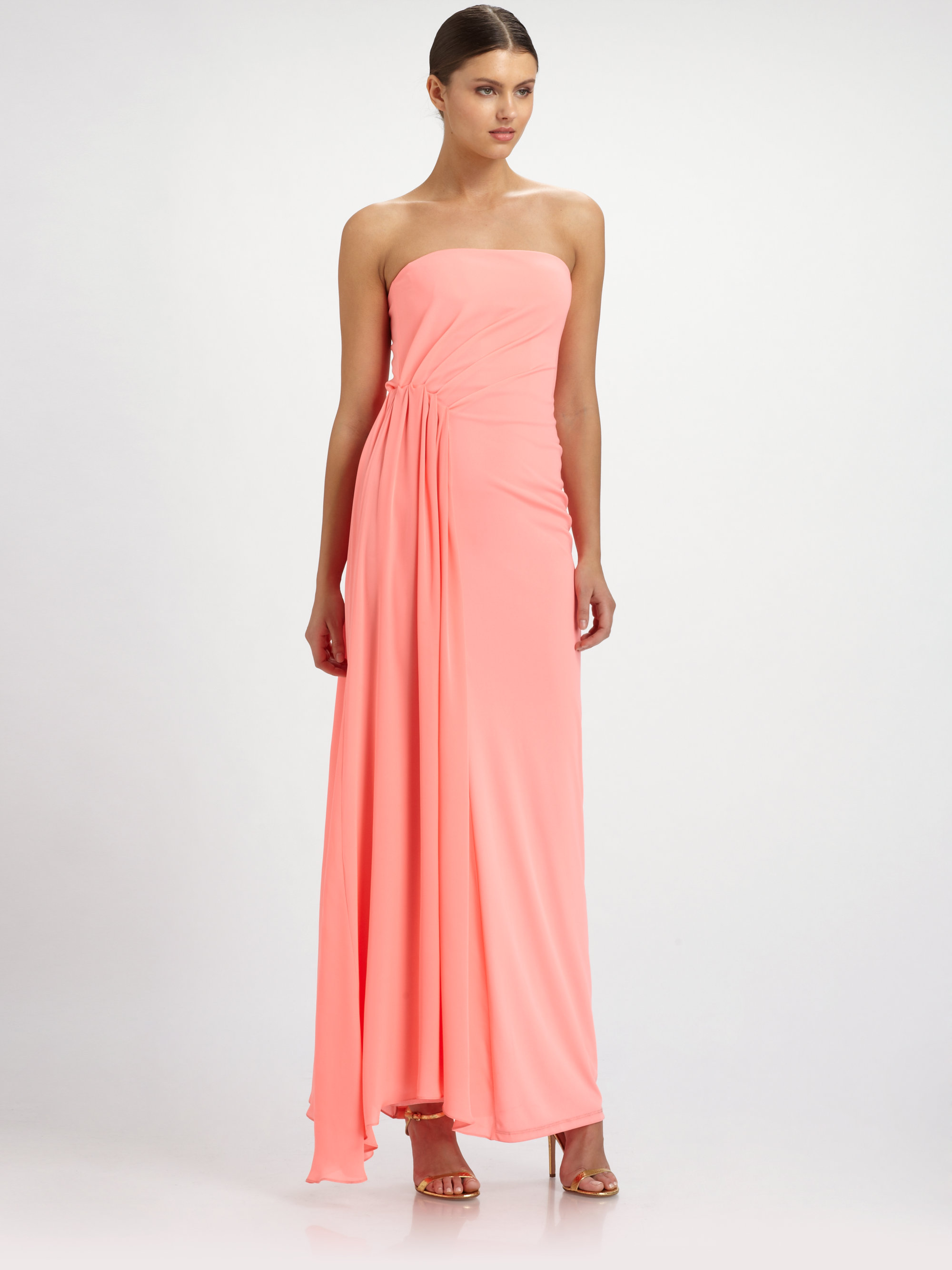 Halston ruched strapless dress in pink lyst gallery ombrellifo Images