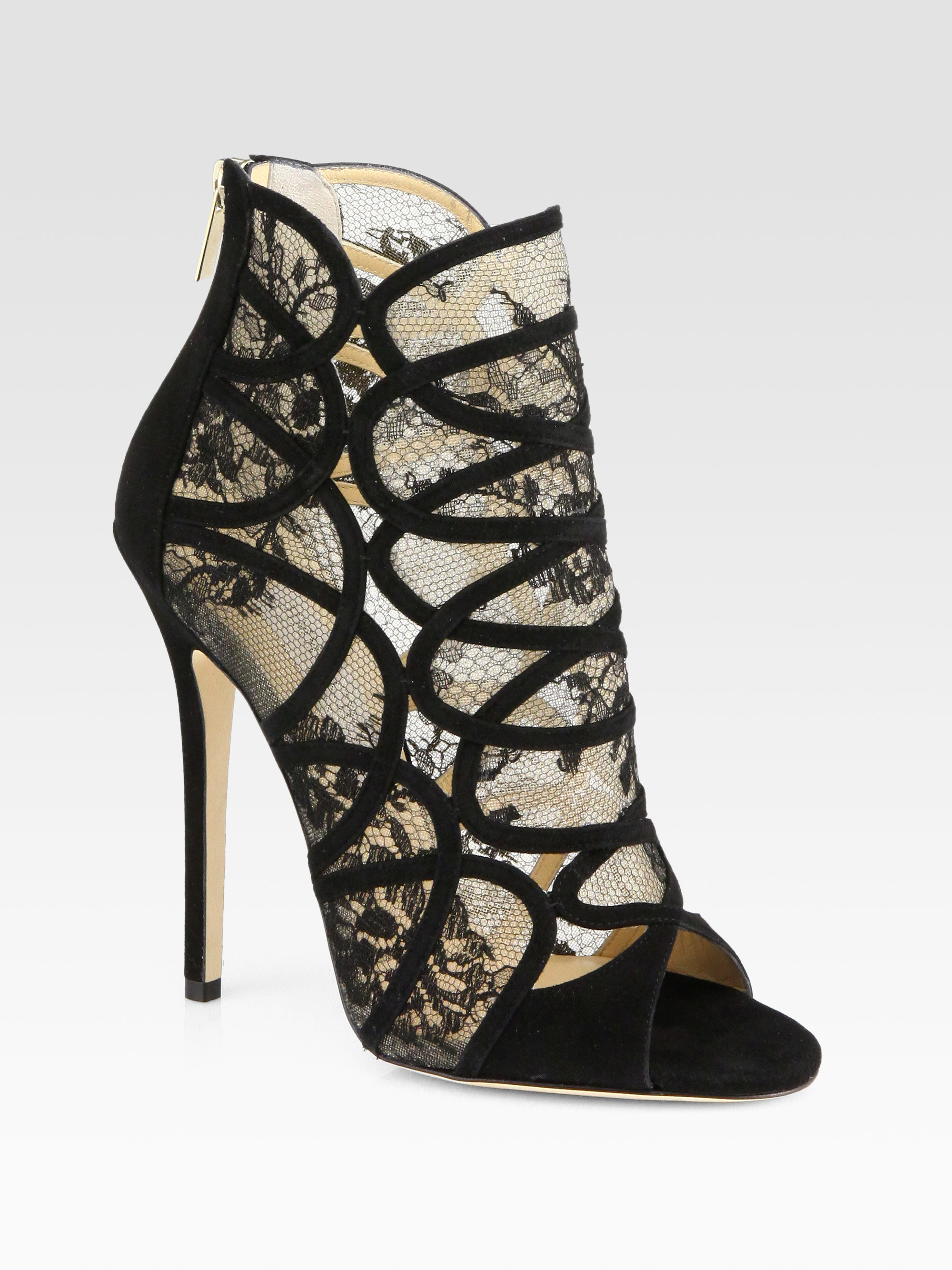 eb15eb183f59 ... buy lyst jimmy choo flaunt lace suede ankle boots in black 47dda f3f68