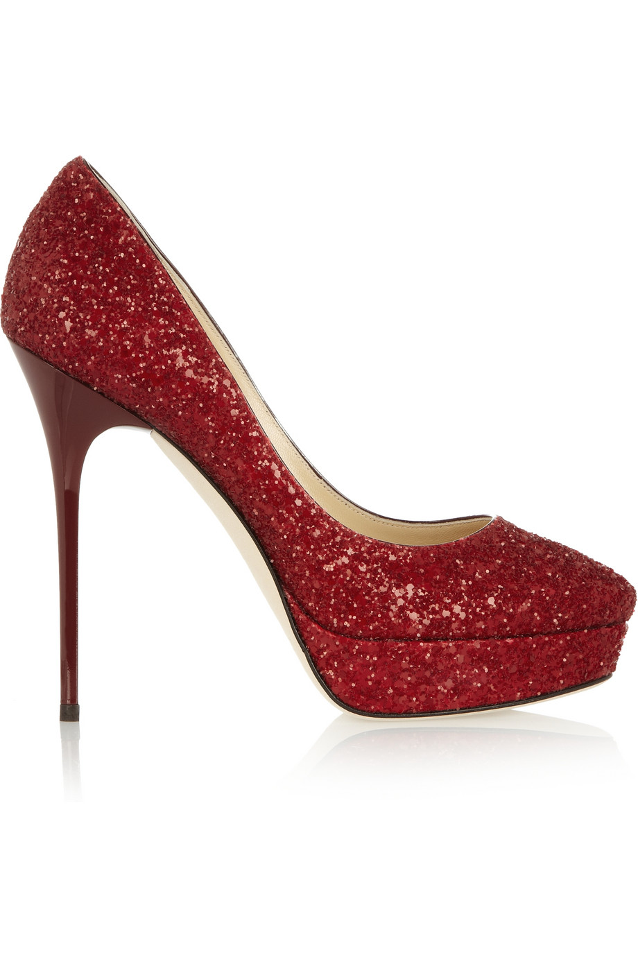 Jimmy Choo Cosmic Glitter Finish Leather Pumps In Red Lyst