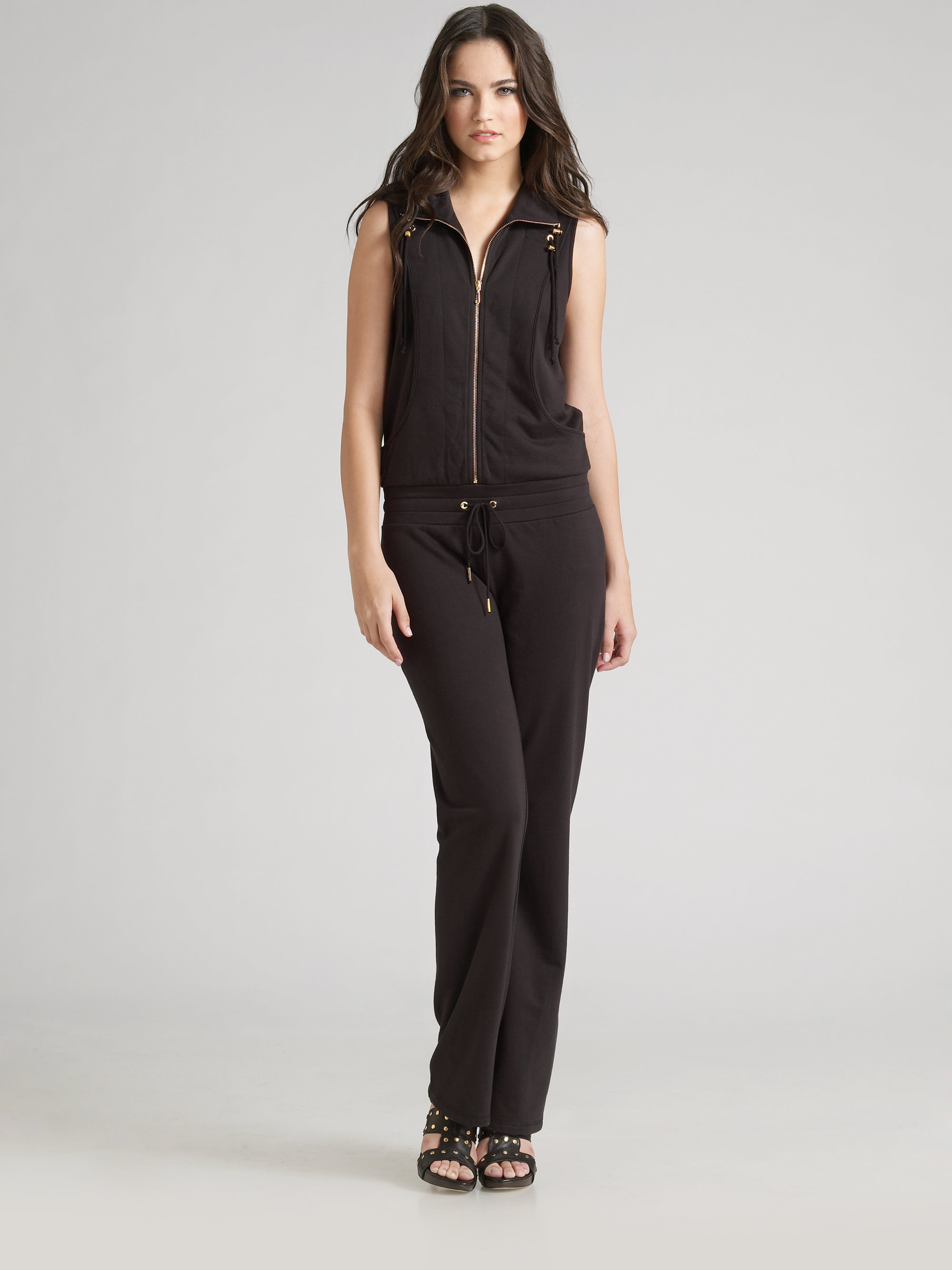 d32887945fce Lyst - Juicy Couture Track Jumpsuit in Gray