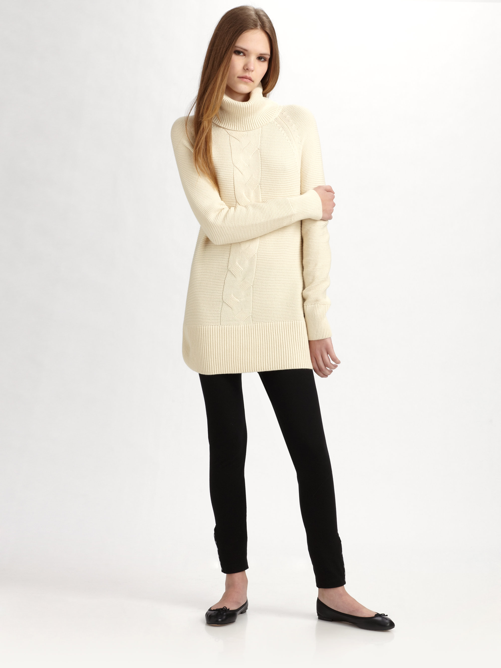 Lacoste Cable Knit Tunic Sweater in Natural | Lyst
