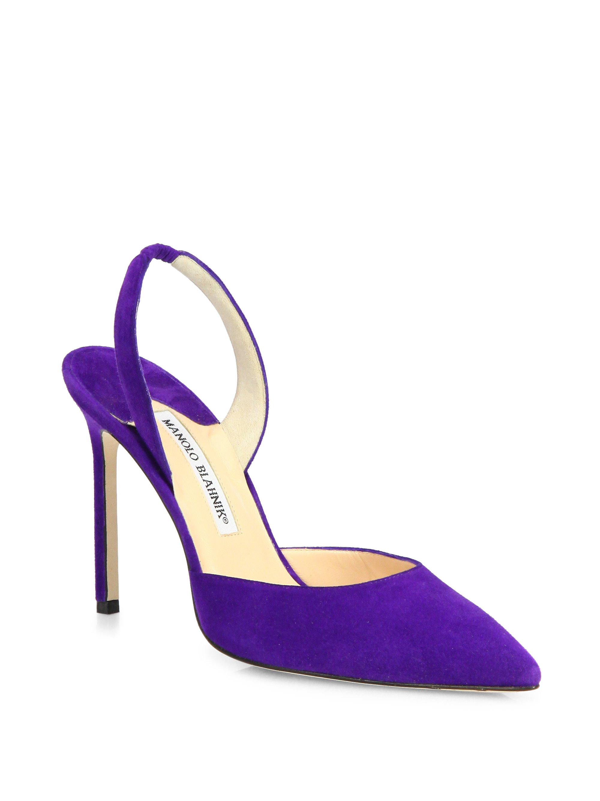 Lyst - Manolo blahnik Carolyne Suede Slingback Point Toe Pumps in ...