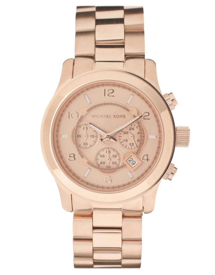 lyst michael kors rose gold watch in metallic for men