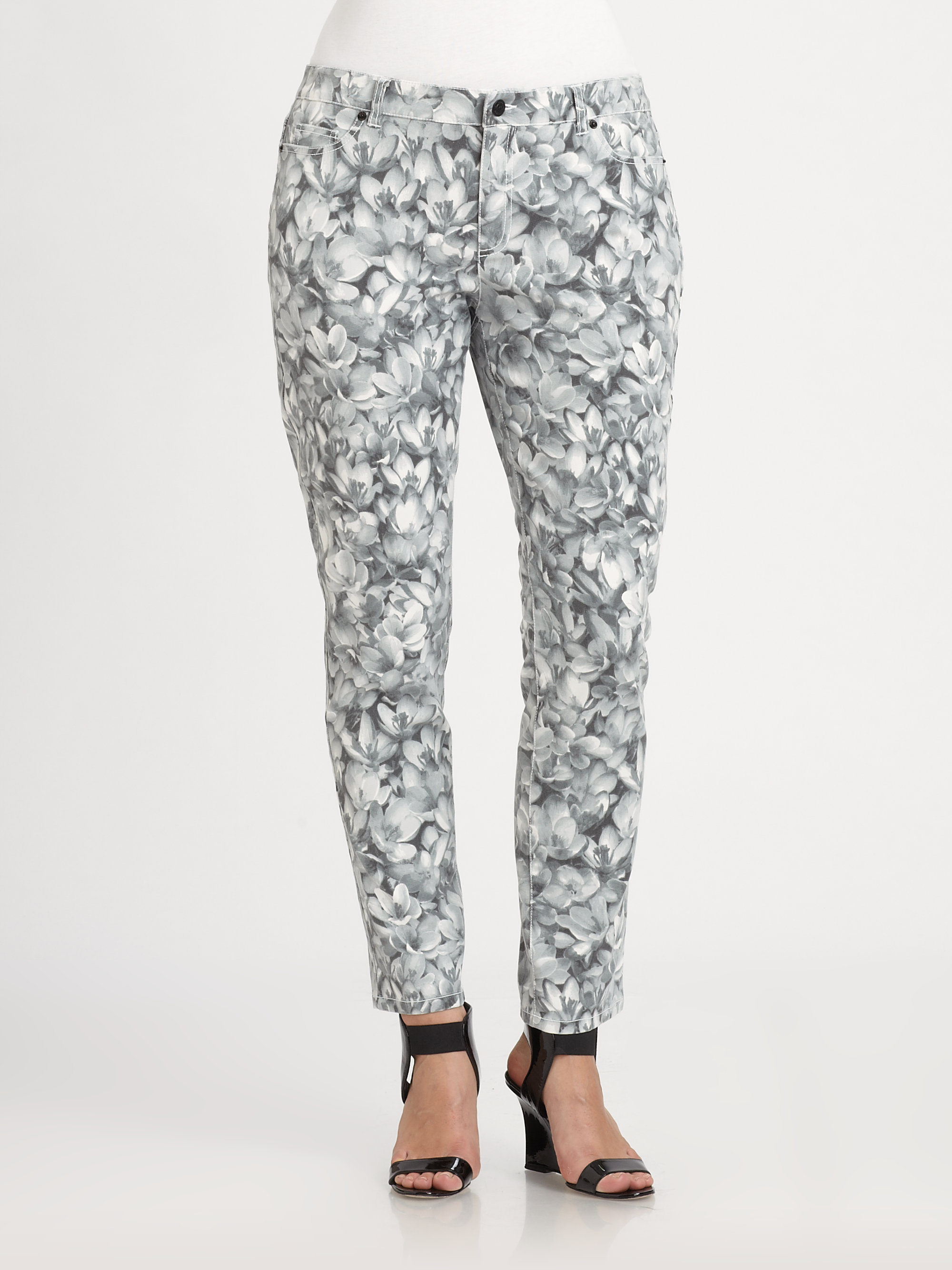 Michael Michael Kors Wildflower Skinny Jeans In Gray Lyst