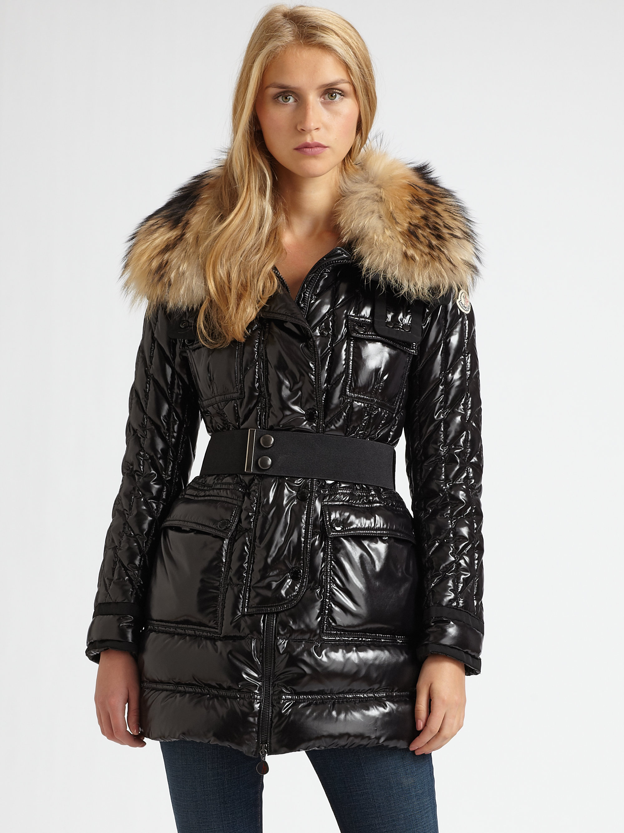 0ae03f1b5 Moncler Raccoonfur Collar Quilted Puffer Coat in Black - Lyst