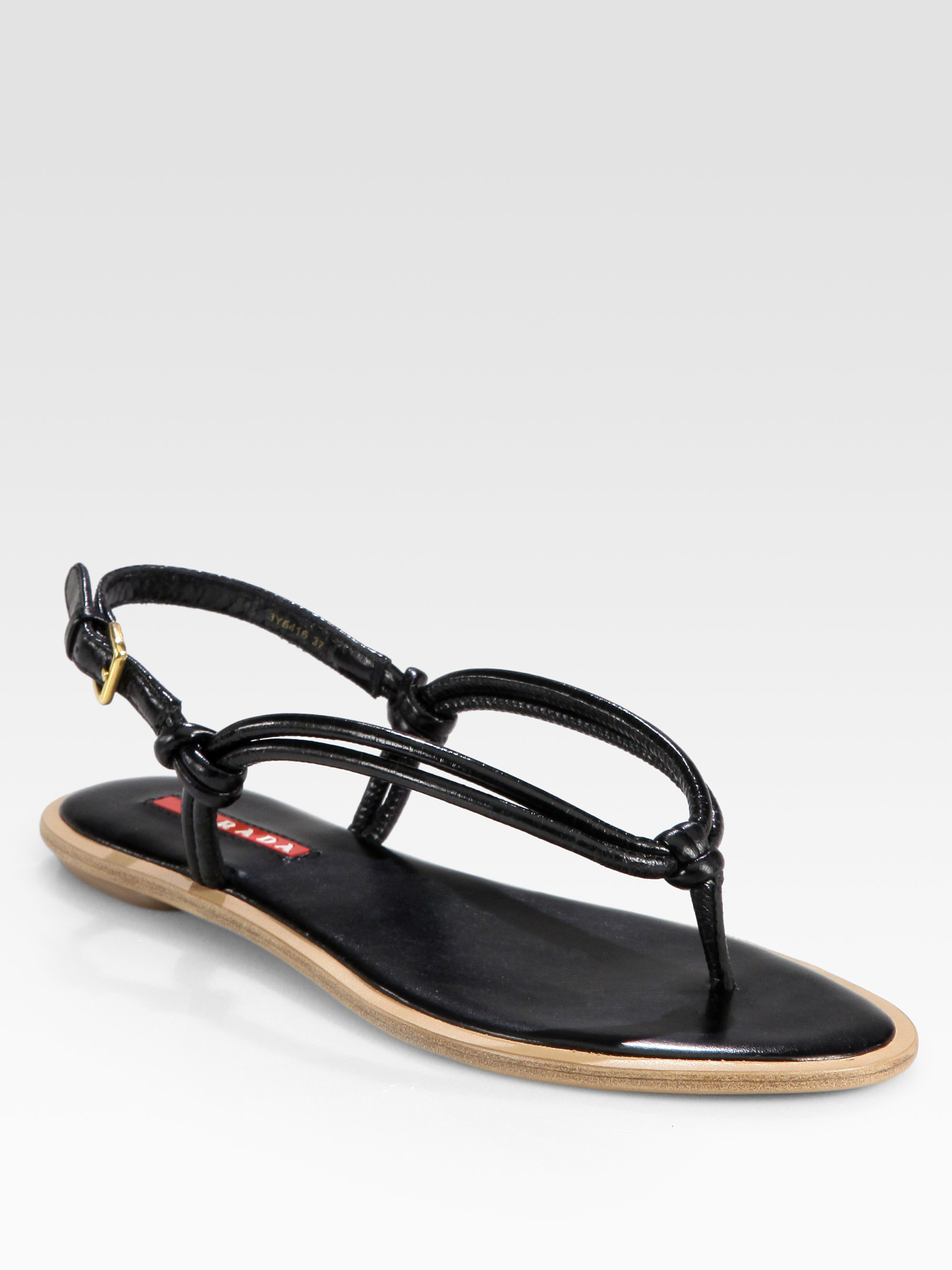 275074e661d3d3 Lyst - Prada Leather Knotted Thong Sandals in Black