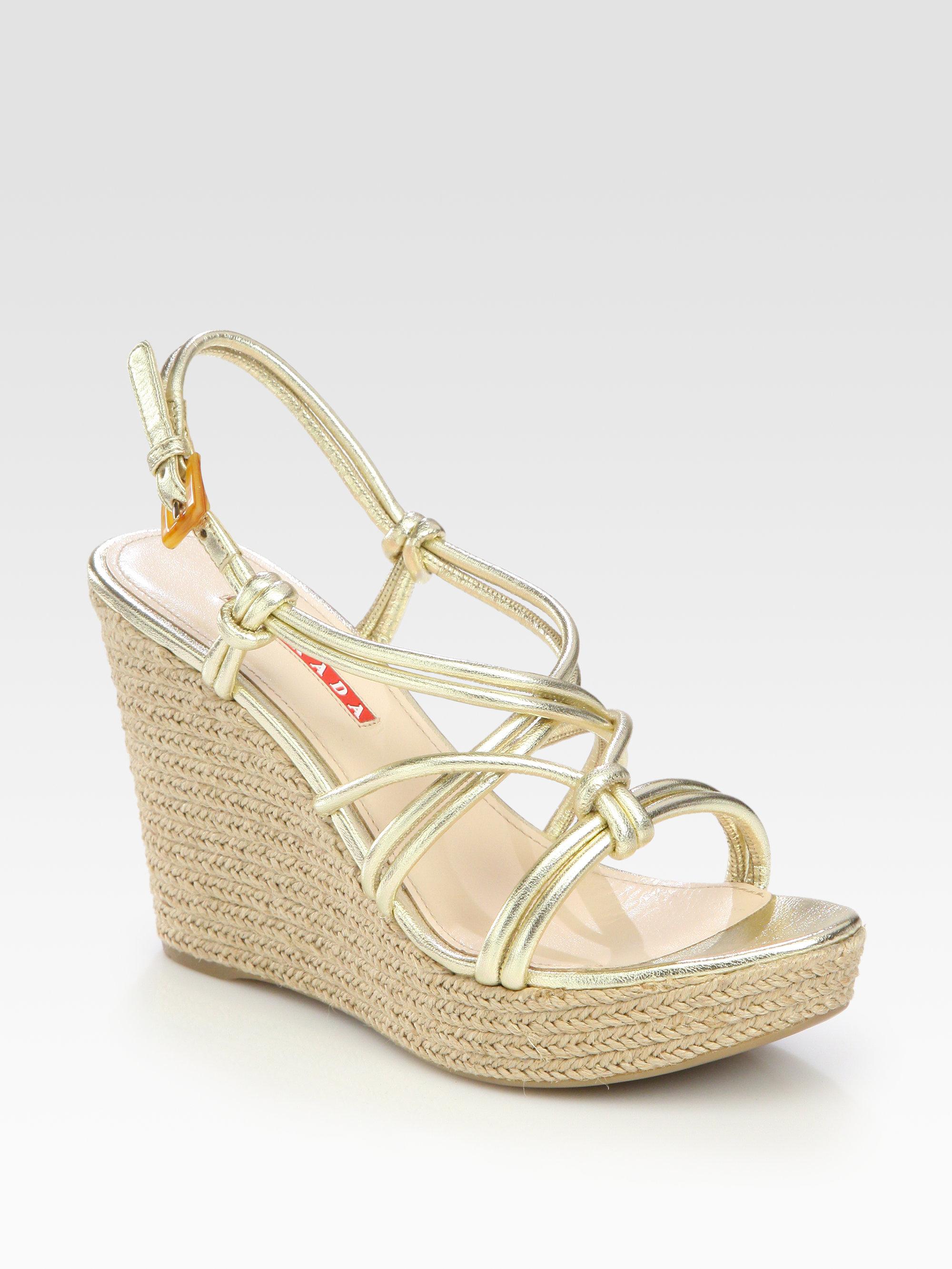 prada wedge sandals in metallic lyst