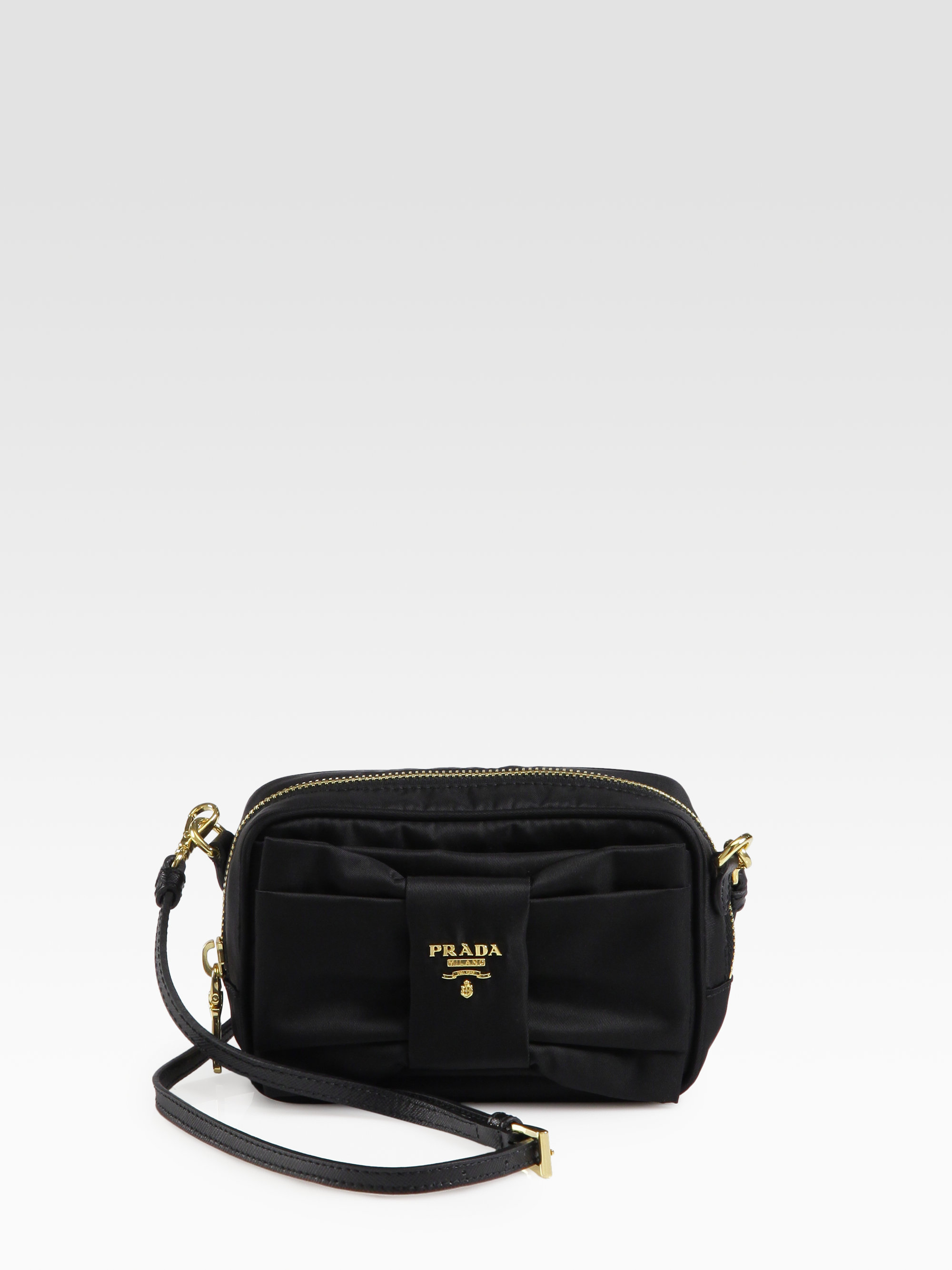 Prada Tessuto Bow-Detail Cross-Body Bag in Black (nero-black) | Lyst
