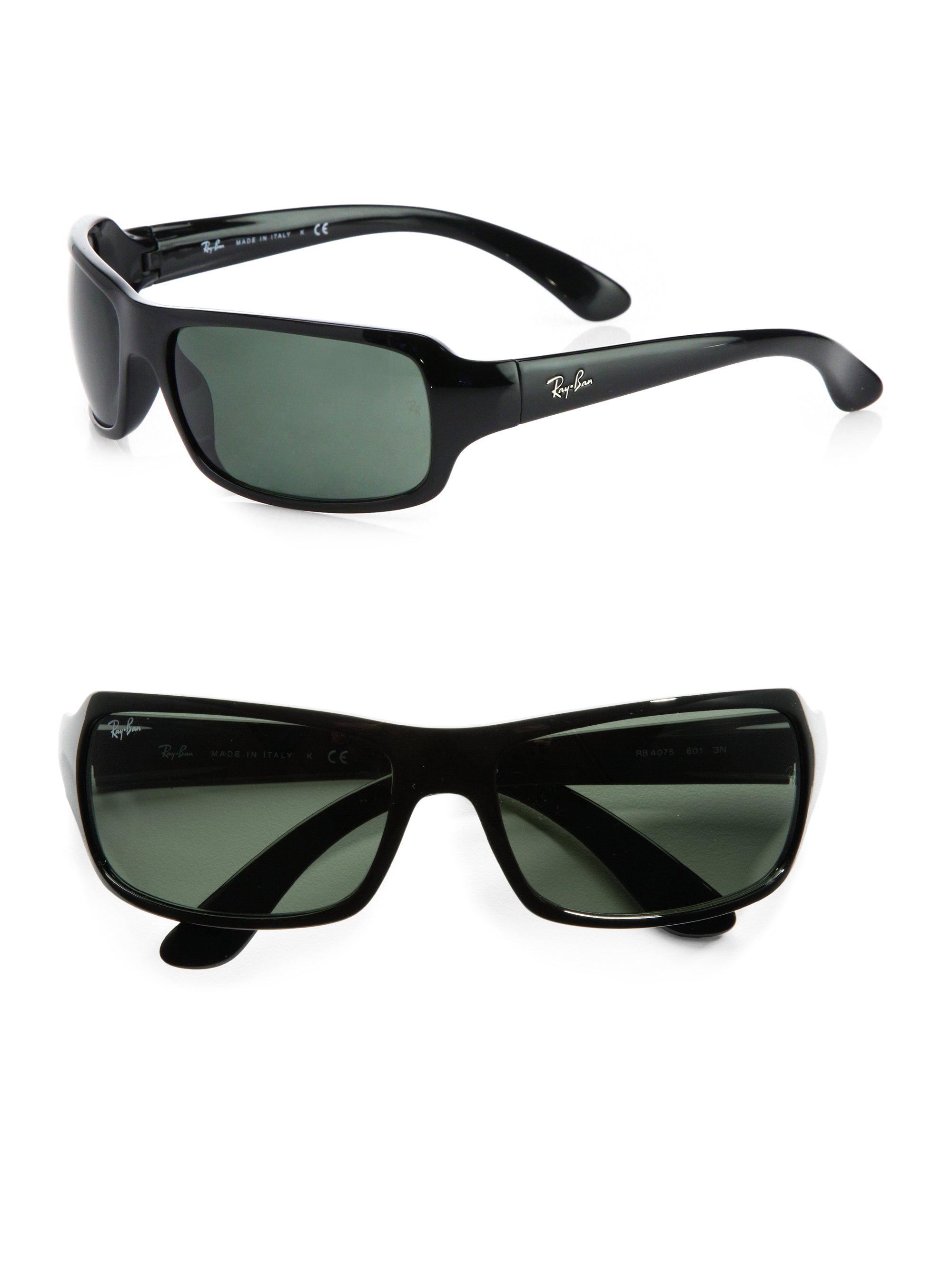 681c365bac3 Lyst - Ray-Ban Rectangular Wrap Sunglasses in Black for Men