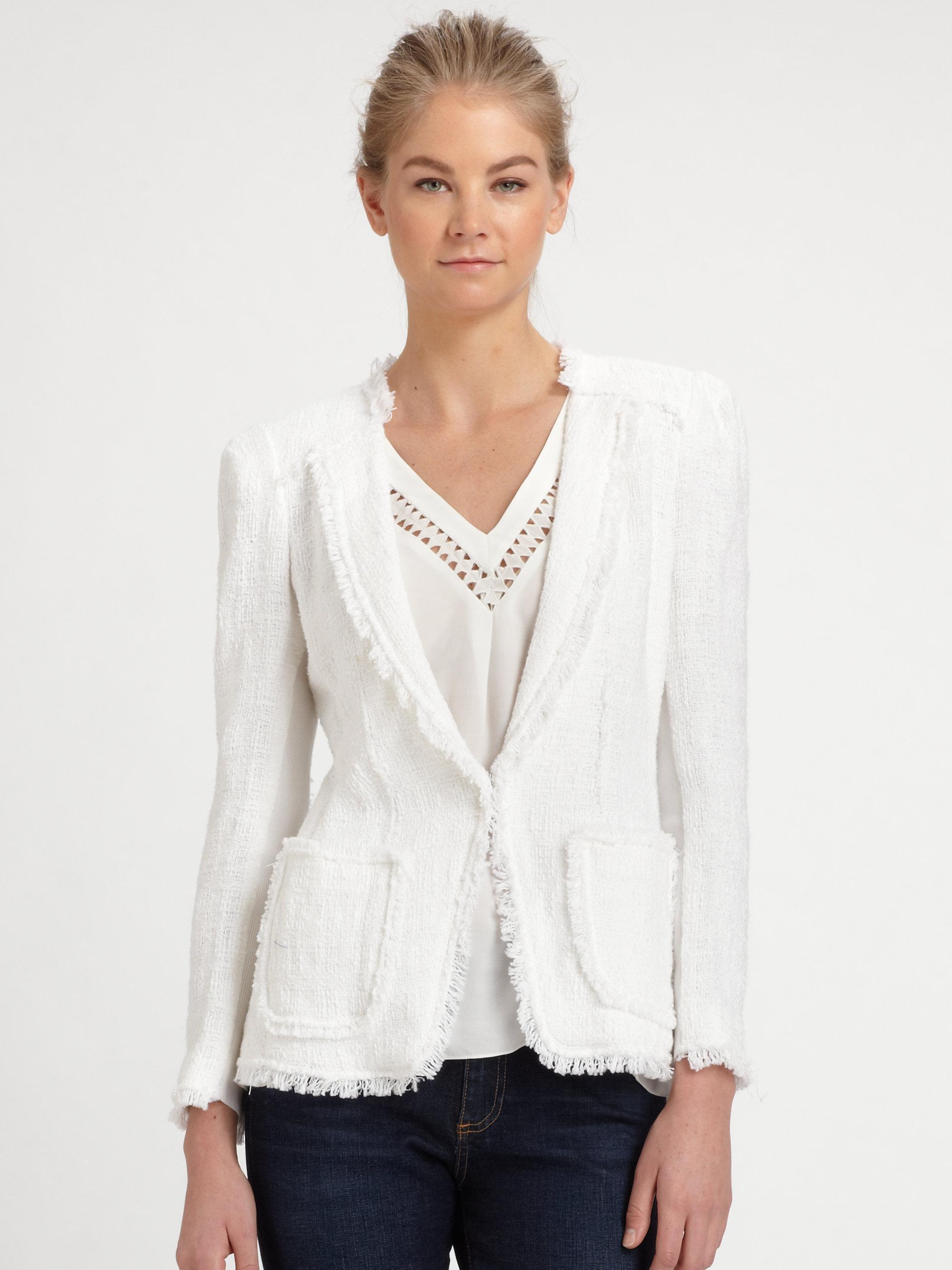 Rebecca taylor Tweed Blazer in White | Lyst