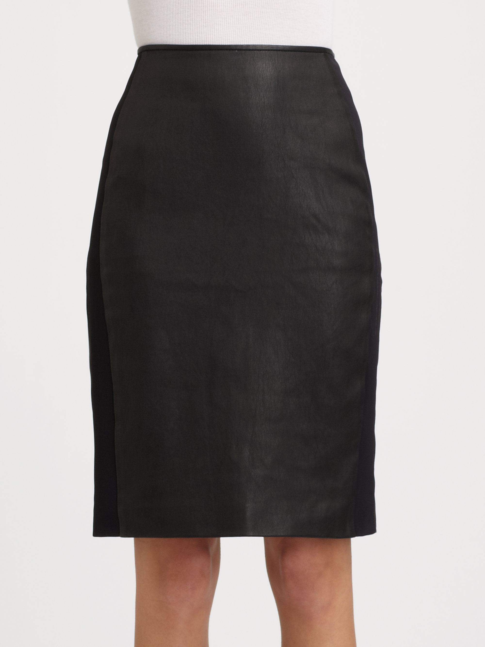 theory brookelle leather skirt in black lyst