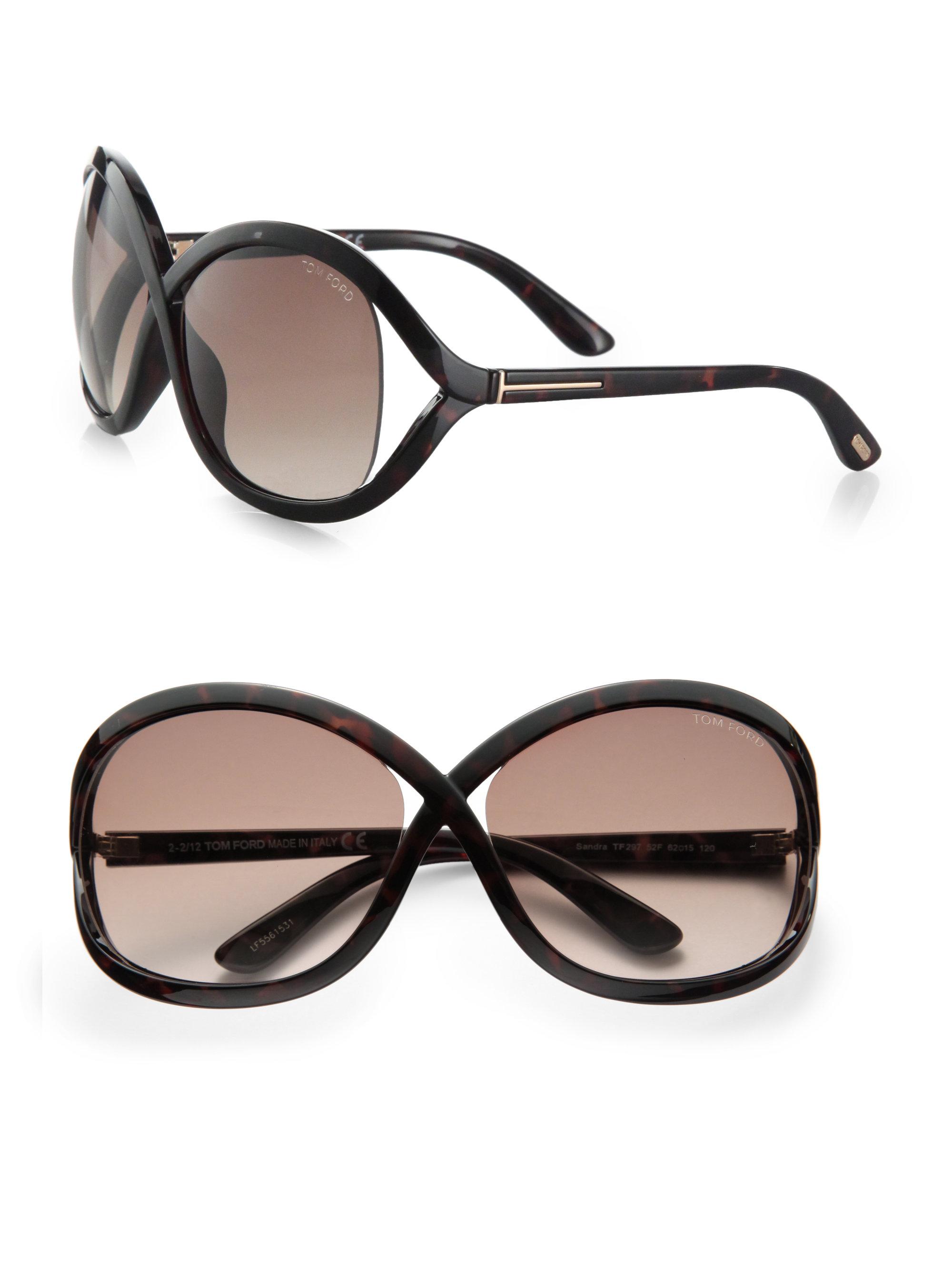 516b240fe02 Lyst - Tom Ford Sandra Acetate Square Crossover Sunglasses in Black