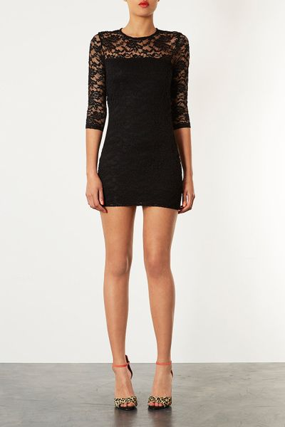 Topshop Lace Bodycon Dress in Black | Lyst