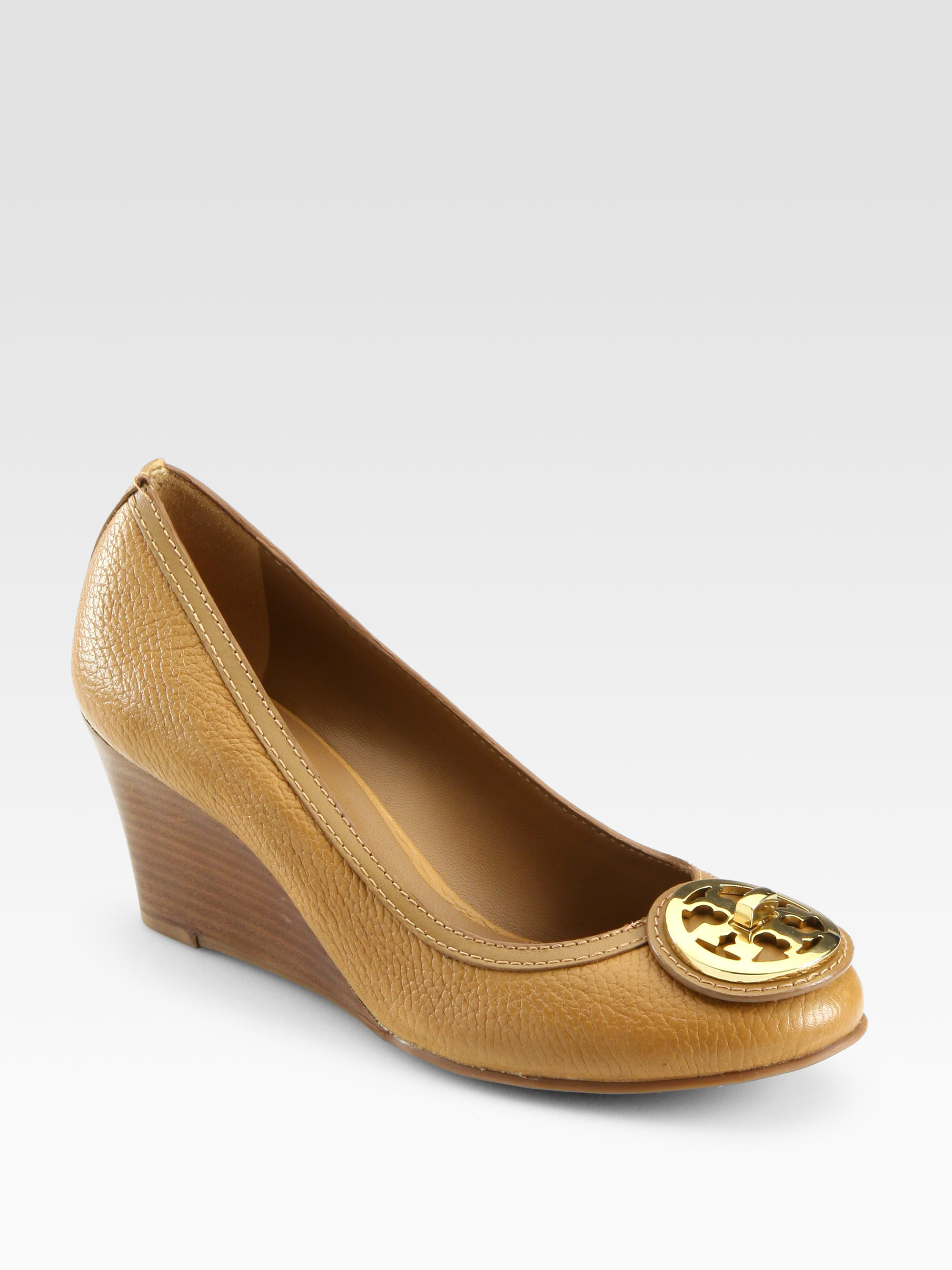 e668c0f2a36c Lyst - Tory Burch Selma Leather Wedge Pumps in Brown