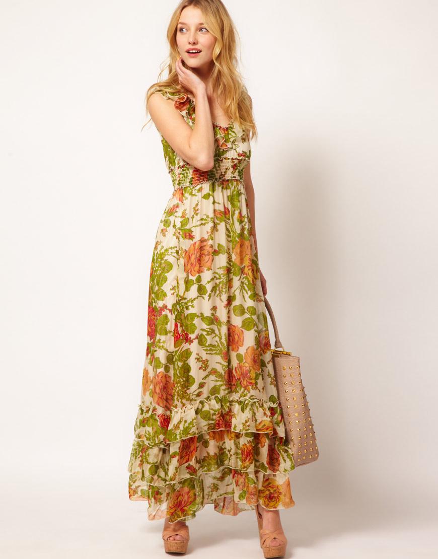 347817efa990 Traffic People Silk Maxi Dress in Rose Print - Lyst