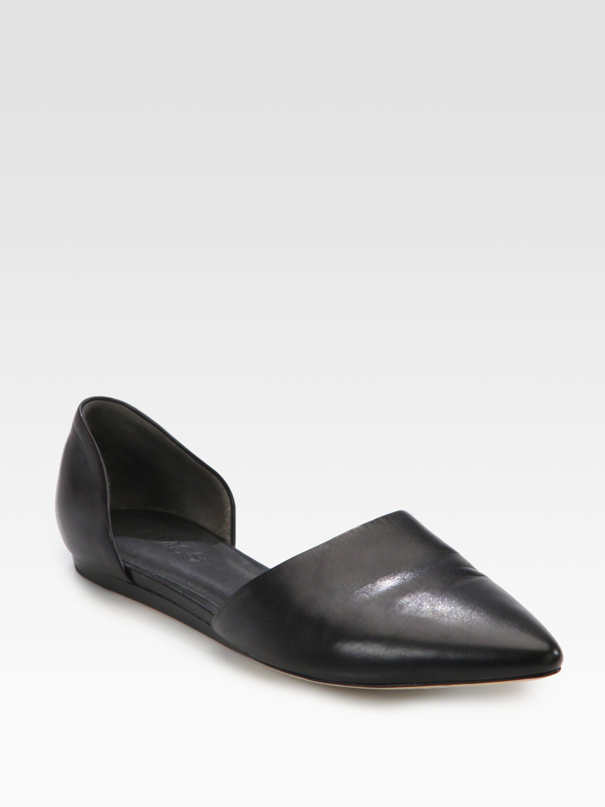 Lyst Vince Nina Leather D Orsay Flats In Black