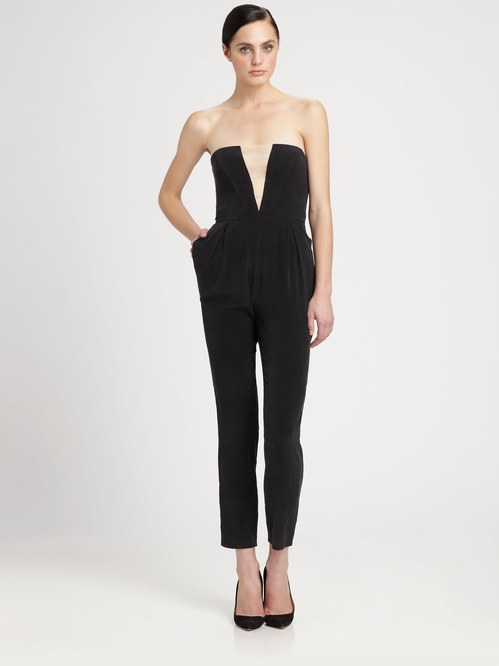 Zimmermann Silk Illusion Strapless Jumpsuit in Black | Lyst