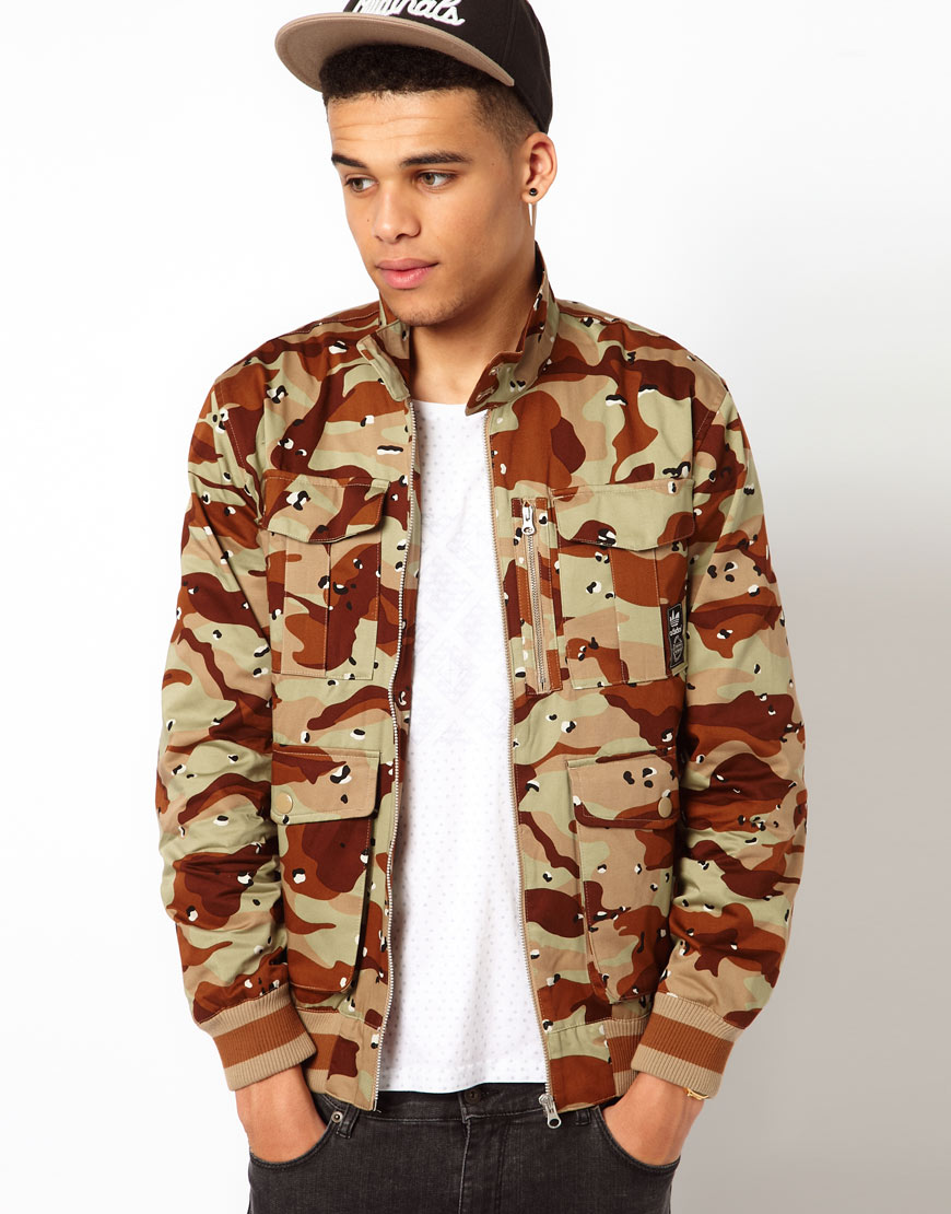 lyst adidas originals jacket with camo print in green. Black Bedroom Furniture Sets. Home Design Ideas