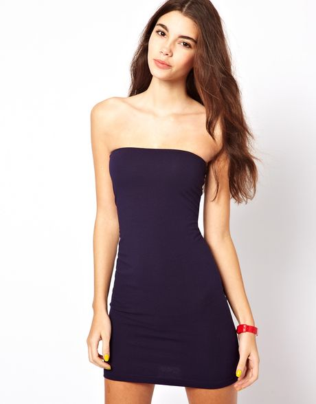 American Apparel Tube Mini Dress in Blue (navy) | Lyst