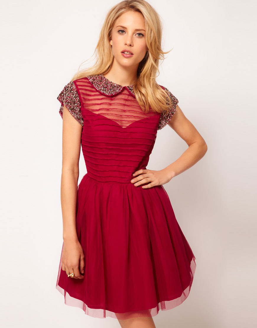 Lyst Asos Skater Dress With Embellished Collar In Red