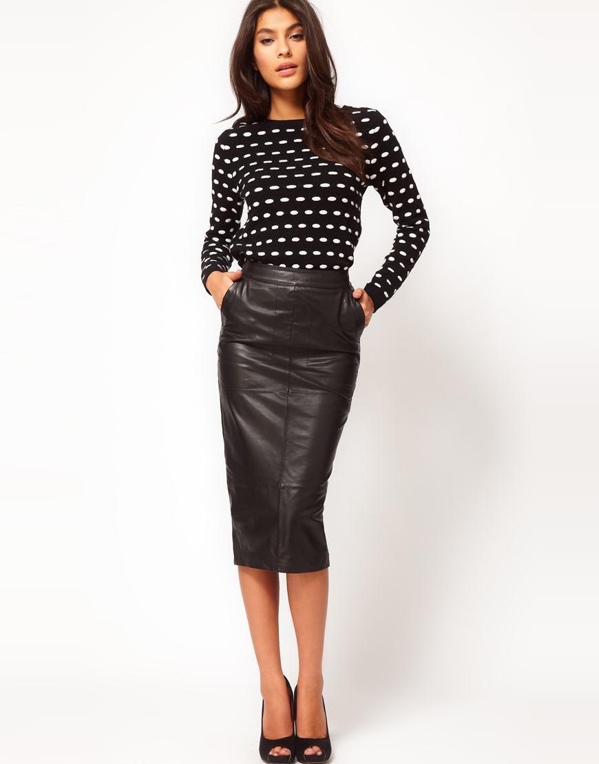 Asos Pencil Skirt in Leather in Black | Lyst