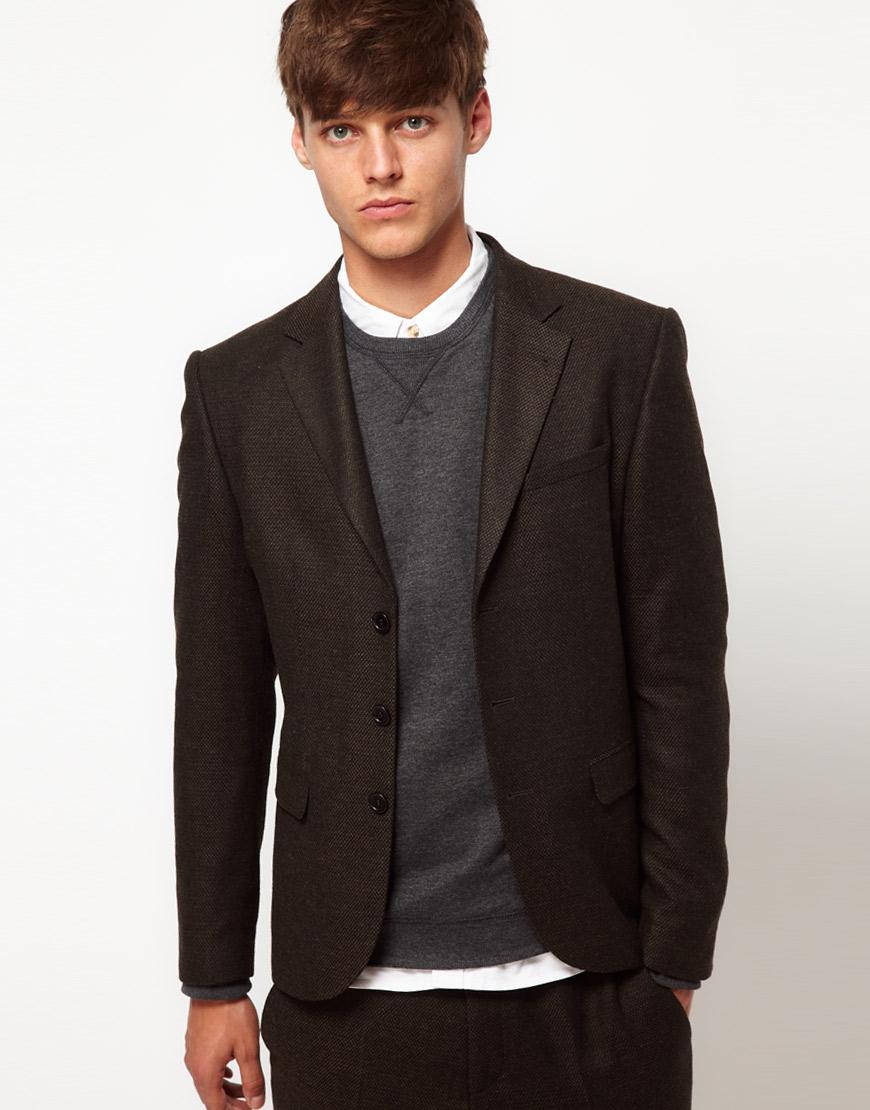 Asos slim fit suit jacket in tweed in brown for men lyst