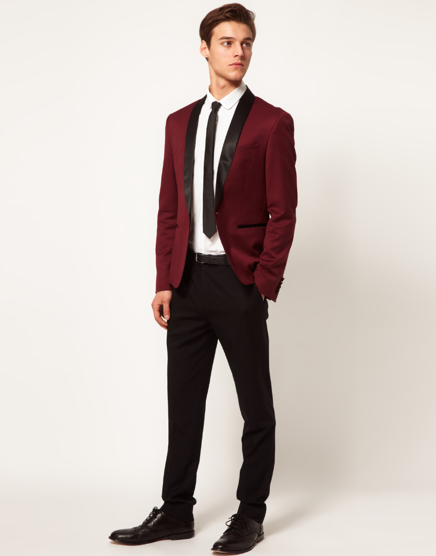 Asos wool blend tuexdo jacket in red for men lyst for Black suit burgundy shirt