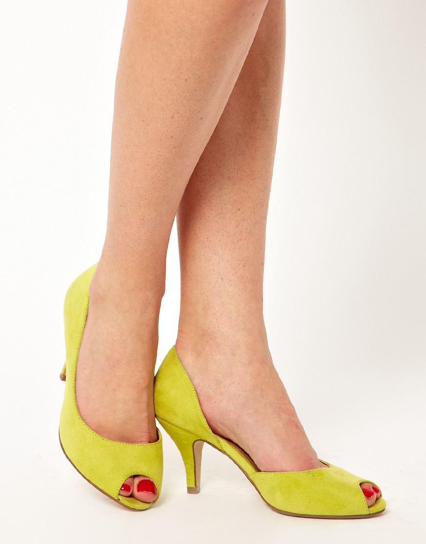 Lyst - Asos Sugar Cube Heels with Peep Toe in Yellow