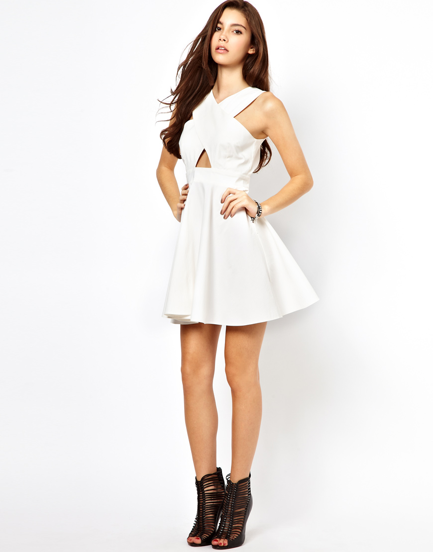 245dfc3f28fe Lyst - ASOS Cut Out Front Skater Dress in White