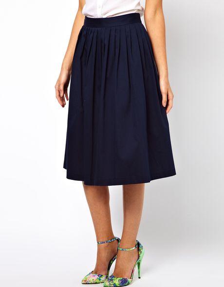 asos midi skirt in blue navy lyst