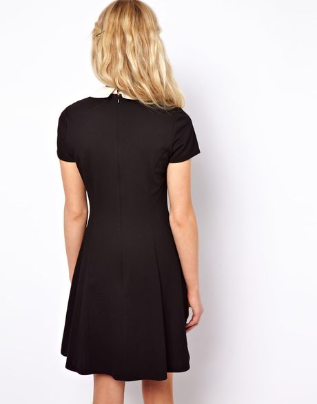Asos Skater Dress With Contrast Collar In Black