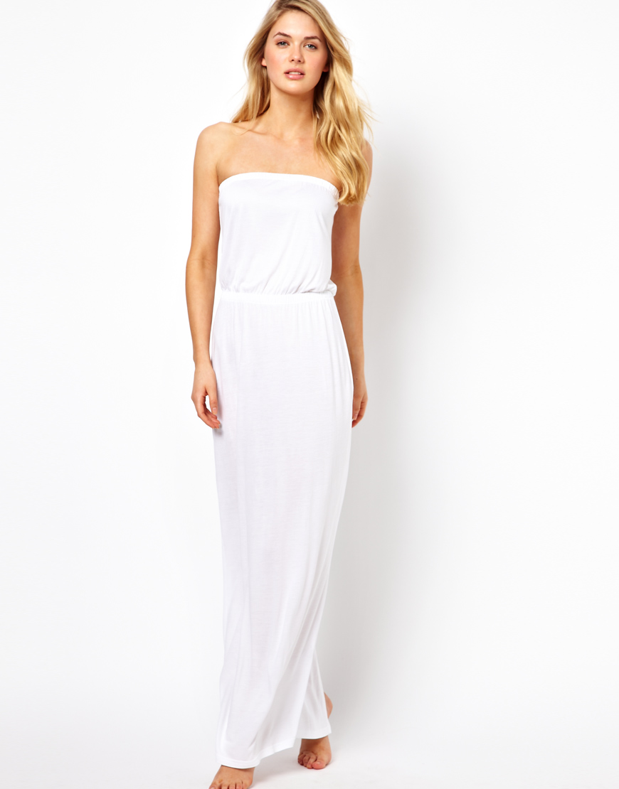 asos bandeau jersey maxi beach dress in white lyst. Black Bedroom Furniture Sets. Home Design Ideas