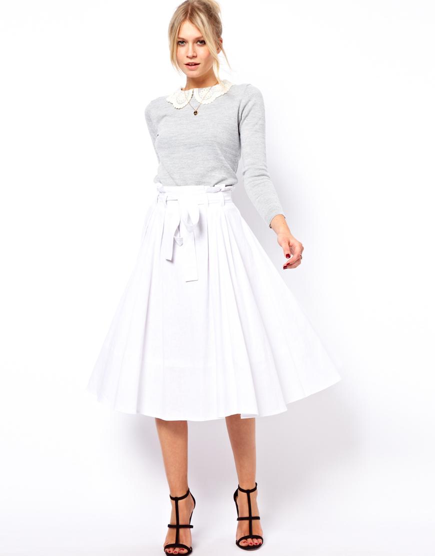 Asos Linen Midi Skirt with Belt in White | Lyst