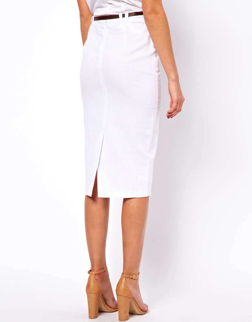 Asos Linen Pencil Skirt with Belt in White | Lyst