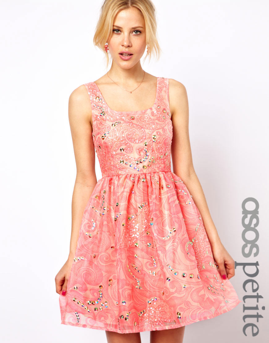 Lyst - Asos Prom Dress with Embellishment in Pink